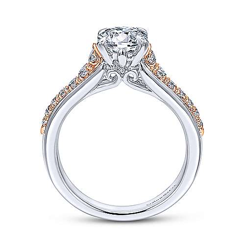 14k White/pink Gold Round Straight Engagement Ring angle 2