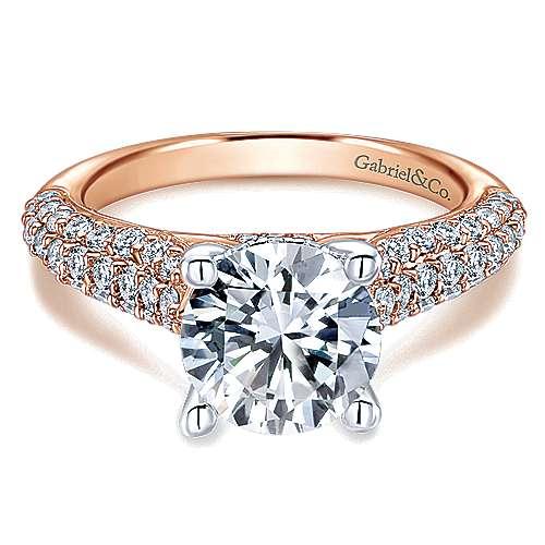 Gabriel - 14k White/pink Gold Round Straight Engagement Ring