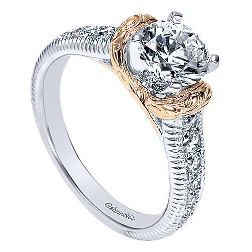 14k White/pink Gold Round Straight Engagement Ring angle 3