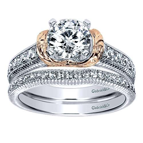 14k White/pink Gold Round Straight Engagement Ring angle 4
