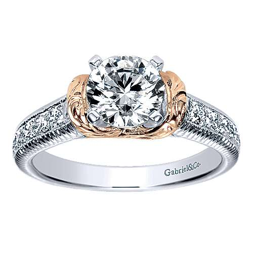 14k White/pink Gold Round Straight Engagement Ring angle 5