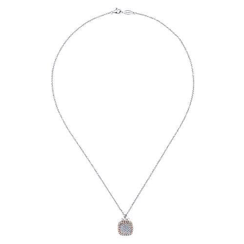 14k White/pink Gold Silk Fashion Necklace angle 2