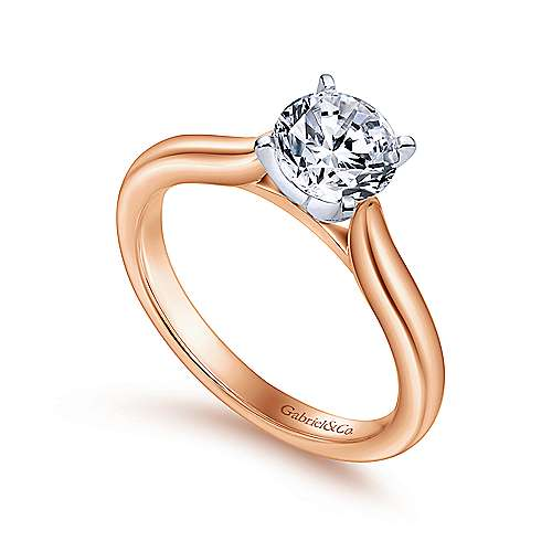 14k White/pink Gold Solitaire Engagement Ring angle 3