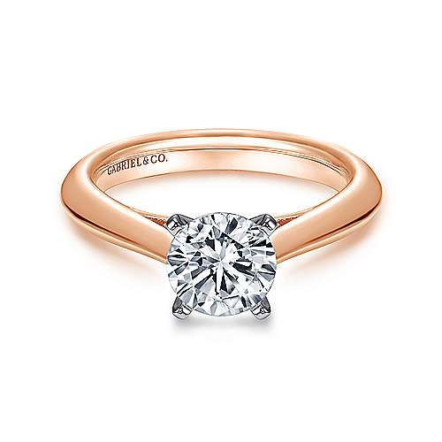 Gabriel - 14k White/pink Gold Round Solitaire Engagement Ring