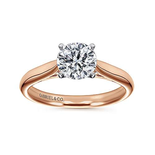 14k White/pink Gold Straight Engagement Ring angle 5