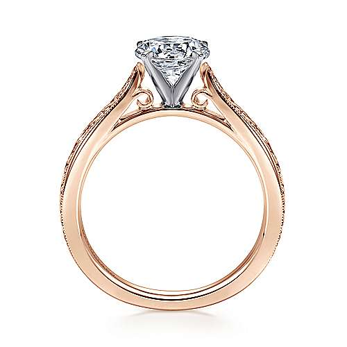 14k White/pink Gold Straight Engagement Ring angle 2