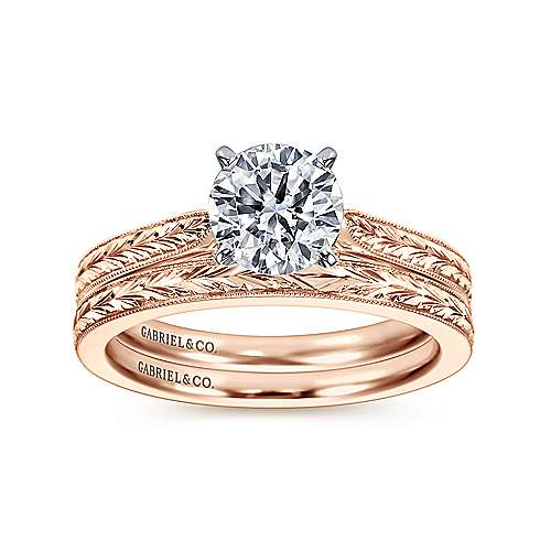 14k White/pink Gold Straight Engagement Ring angle 4