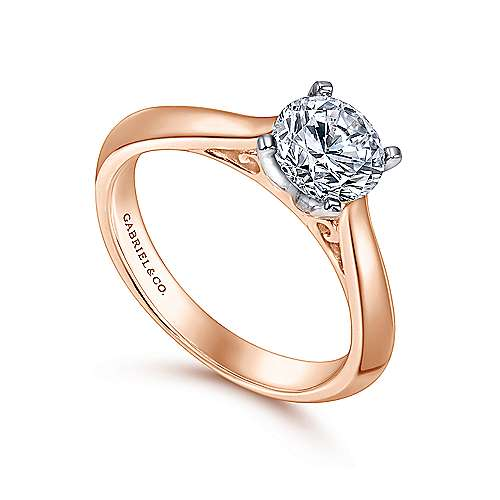 14k White/pink Gold Straight Engagement Ring angle 3