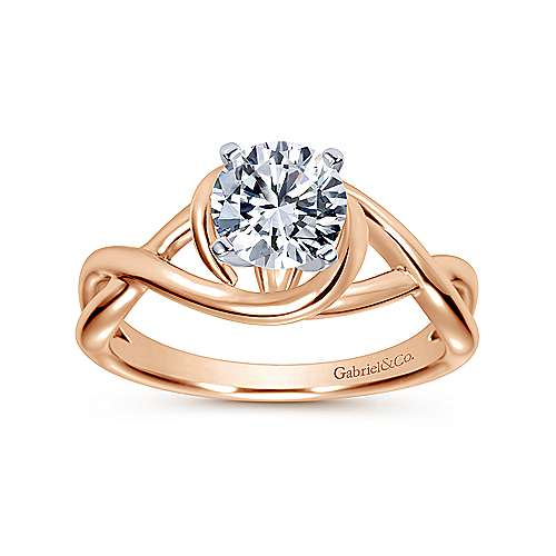 14k White/pink Gold Twisted Engagement Ring angle 5