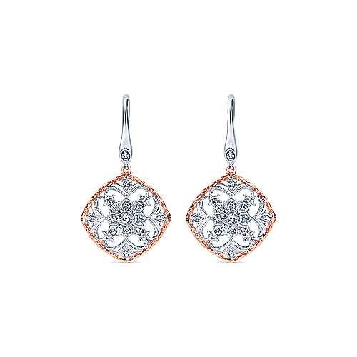 Gabriel - 14k White/pink Gold Victorian Drop Earrings