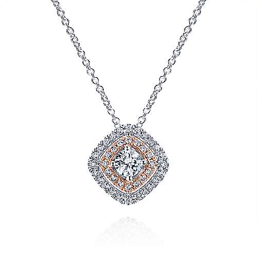 Gabriel - 14k White/rose Gold Clustered Diamonds Fashion Necklace
