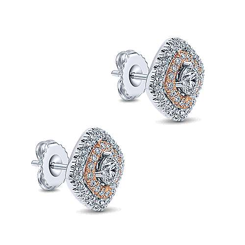 14k White/rose Gold Clustered Diamonds Stud Earrings angle 2