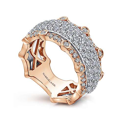 14k White/rose Gold Contemporary Fancy Anniversary Band angle 3