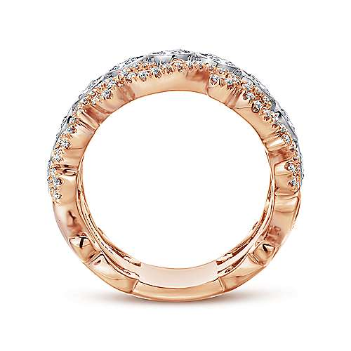 14k White/rose Gold Contemporary Fancy Anniversary Band angle 2