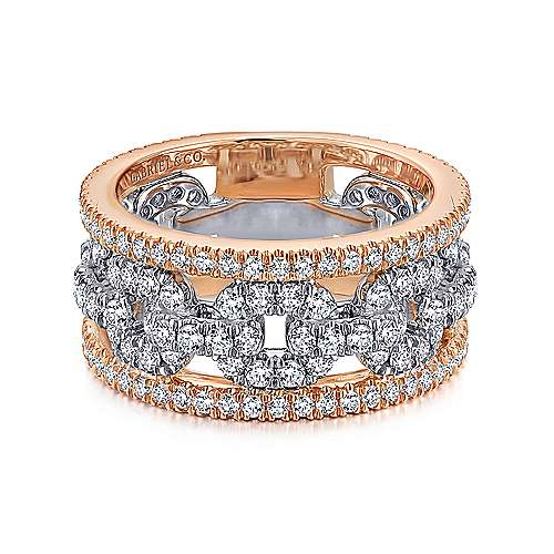 Gabriel - 14k White/rose Gold Contemporary Fancy Anniversary Band