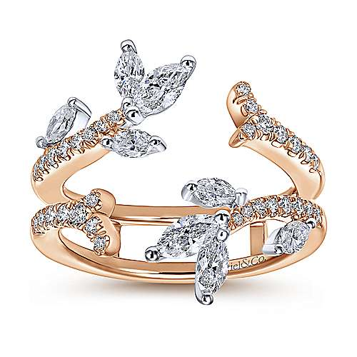 14k White/rose Gold Contemporary Jacket Anniversary Band angle 5