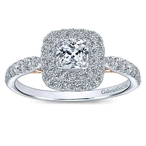 14k White rose Gold Cushion Cut Double Halo Engagement Ring ER C2T44JJ C
