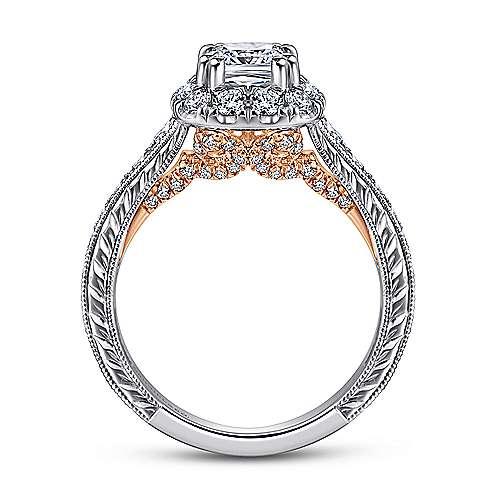 14k White/rose Gold Cushion Cut Halo Engagement Ring angle 2