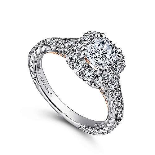 14k White/rose Gold Cushion Cut Halo Engagement Ring angle 3