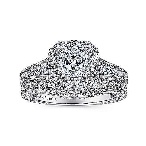14k White/rose Gold Cushion Cut Halo Engagement Ring angle 4