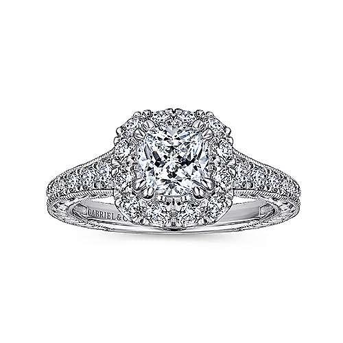 14k White/rose Gold Cushion Cut Halo Engagement Ring angle 5