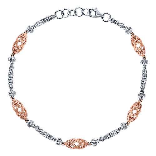 Gabriel - 14k White/rose Gold Endless Diamonds Chain Bracelet