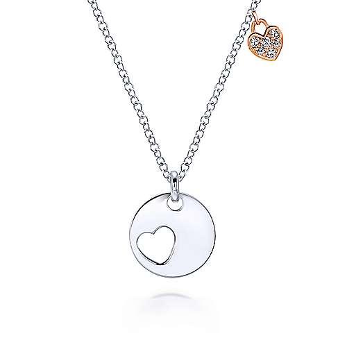 Gabriel - 14k White/rose Gold Eternal Love Heart Necklace