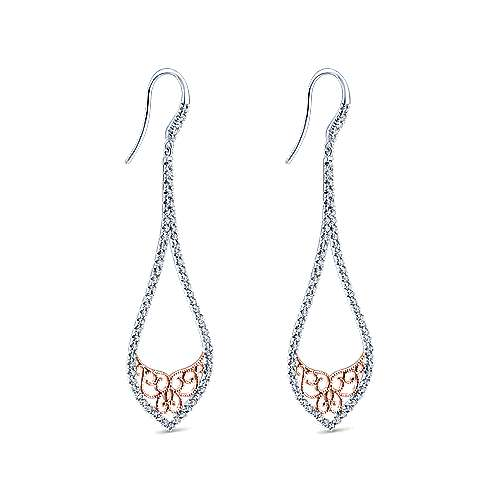 14k White/rose Gold Flirtation Drop Earrings angle 2