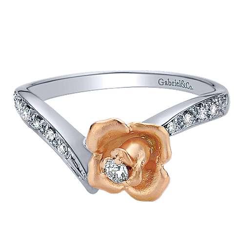 Gabriel - 14k White/rose Gold Floral Fashion Ladies' Ring