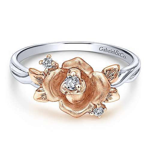 Gabriel - 14k White/rose Gold Floral Fashion Ladies' Ring