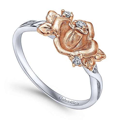14k White/rose Gold Floral Fashion Ladies