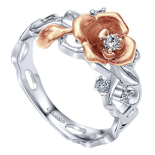 14k White/rose Gold Floral Fashion Ladies