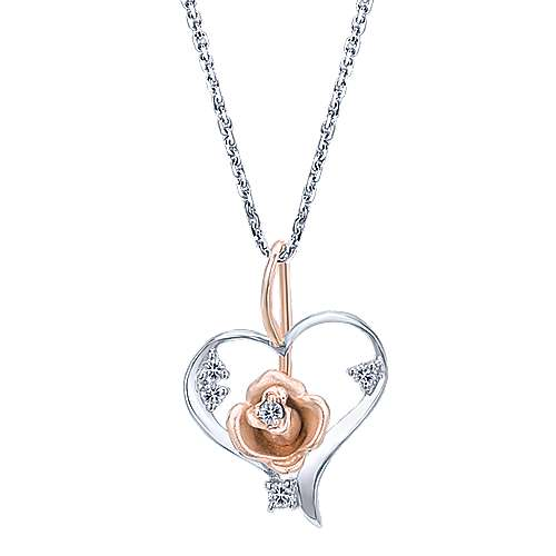 14k White/rose Gold Floral Heart Necklace angle 1