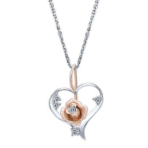 14k White/rose Gold  Heart