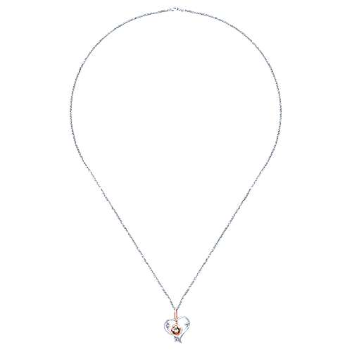 14k White/rose Gold Floral Heart Necklace angle 2