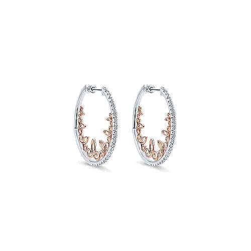 Gabriel - 14k White/rose Gold Hoops Intricate Hoop Earrings