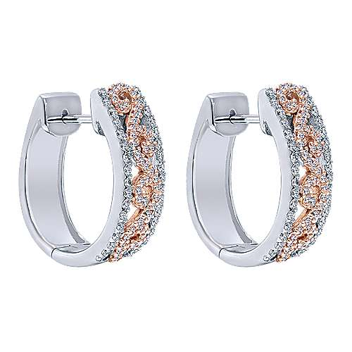 Gabriel - 14k White/rose Gold Huggies Huggie Earrings