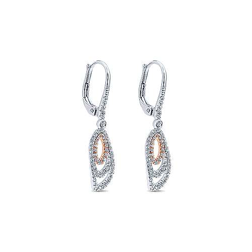 14k White/rose Gold Lusso Diamond Drop Earrings angle 2