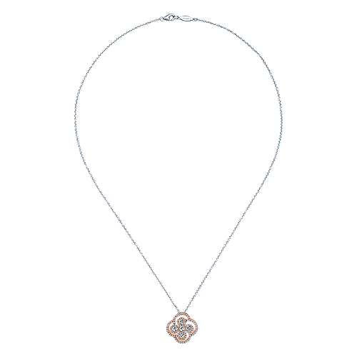 14k White/rose Gold Lusso Diamond Fashion Necklace angle 2