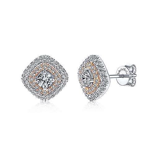 Gabriel - 14k White/rose Gold Messier Stud Earrings