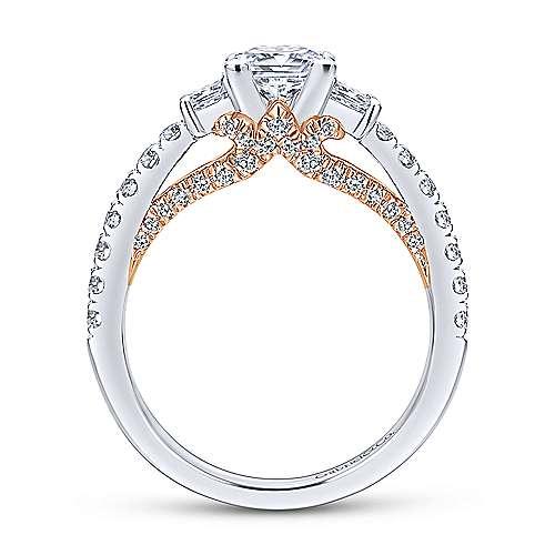 14k White/rose Gold Princess Cut 3 Stones Engagement Ring angle 2