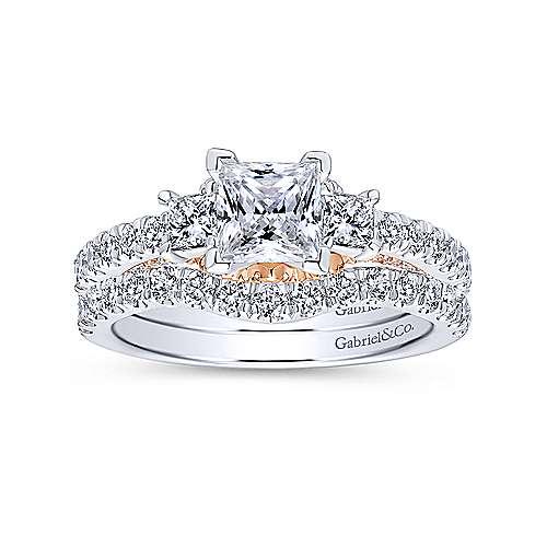 14k White/rose Gold Princess Cut 3 Stones Engagement Ring angle 4