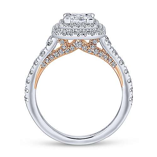 14k White/rose Gold Princess Cut Double Halo Engagement Ring angle 2