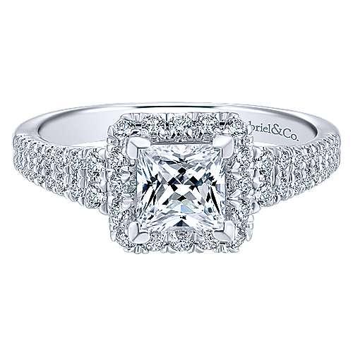Gabriel - 14k White/rose Gold Princess Cut Halo Engagement Ring