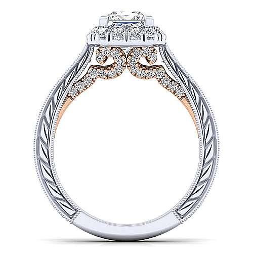 14k White/rose Gold Princess Cut Halo Engagement Ring angle 2
