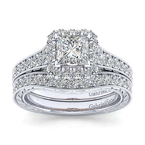 14k White/rose Gold Princess Cut Halo Engagement Ring angle 4