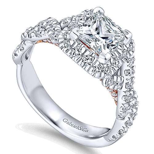 14k White/rose Gold Princess Cut Halo Engagement Ring angle 3