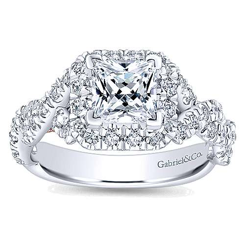 14k White/rose Gold Princess Cut Halo Engagement Ring angle 5