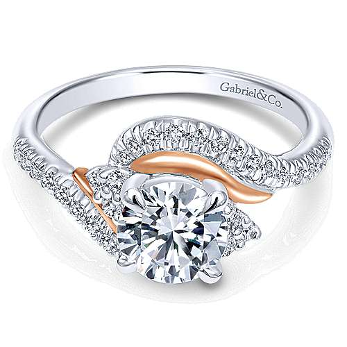 Gabriel - 14k White/rose Gold Round Bypass Engagement Ring