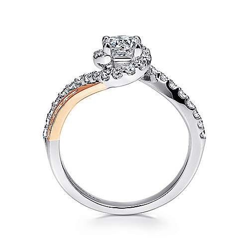 14k White/rose Gold Round Bypass Engagement Ring angle 2